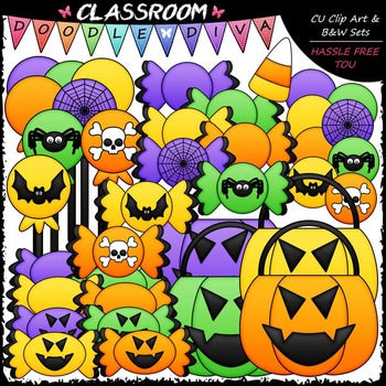 Halloween Clip Art & B&W Bundle (5 Sets)