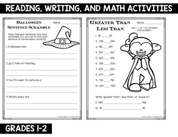 Halloween Reading Writing and Math Activities 1st and 2nd ...