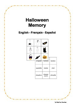 Halloween Memory Game English French Spanish