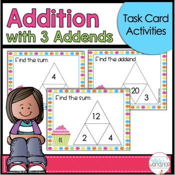 Halloween Math Center: Addition with Three Addends Task Card