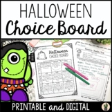 Halloween Menu Choice Board for Enrichment and Early Finis