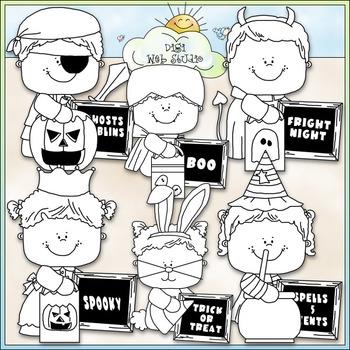 Halloween Message Kids Clip Art - Halloween Clip Art - CU Clip Art & B&W