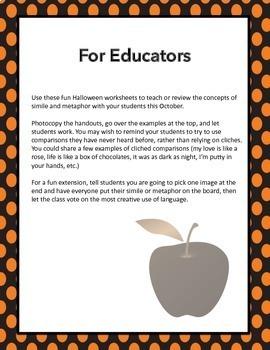 Halloween Metaphors and Similes, ELA 4-8
