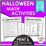 Halloween Middle School Math Activities