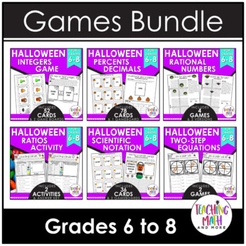 Halloween Middle School Math Activities & Games BUNDLE