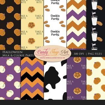 Halloween Milk and Cookie Party Papers, Backgrounds,  Cow Print Digital Papers