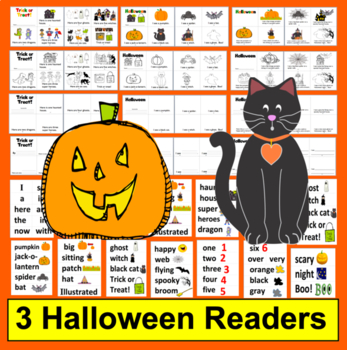 Halloween Activities:  Readers - 2 Levels + Word Wall Vocab. with Illustrations