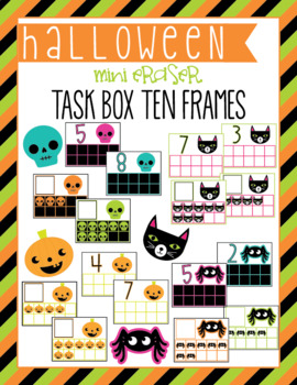 Halloween Mini Eraser Task Card Ten Frames
