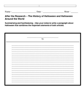 Halloween Mini Research Project
