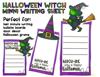 Halloween Mini Witch Writing Sheet