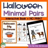 Halloween Final Consonant Deletion Minimal Pairs Interactive Book