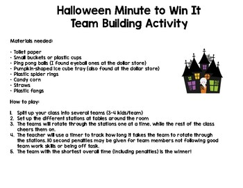 Halloween Minute to Win It Team Building Activity