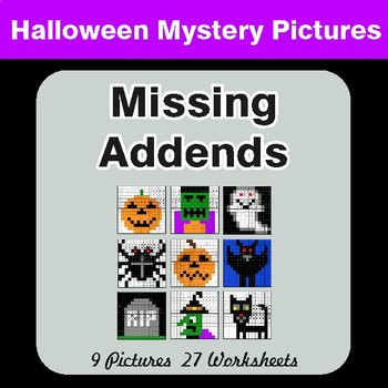 Halloween: Missing Addends - Color-By-Number Mystery Pictures