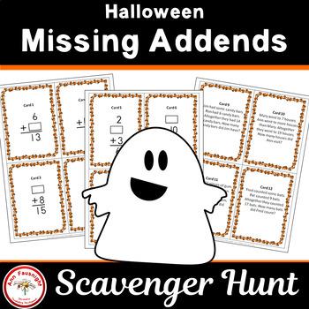Halloween Missing Addends Scavenger Hunt