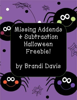 Halloween Missing Addends and Related Subtraction FREEBIE!