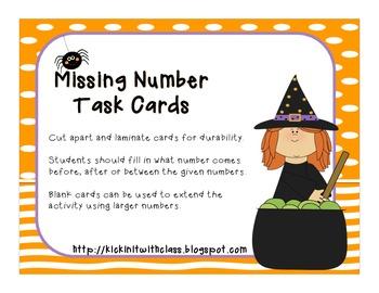 Halloween Missing Number Task Card (Freebie)