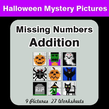 Halloween: Missing Numbers Addition - Color-By-Number Math Mystery Pictures