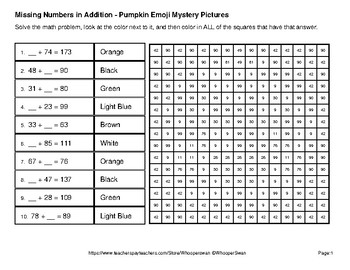 Halloween: Missing Numbers Addition - Color-By-Number Mystery Pictures