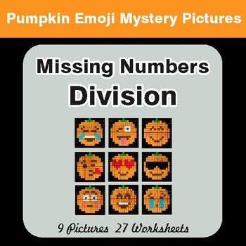 Halloween: Missing Numbers Division - Color-By-Number Math Mystery Pictures