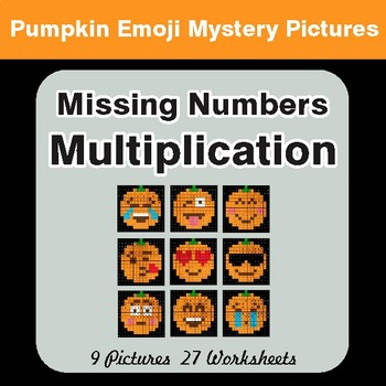 Halloween: Missing Numbers Multiplication - Color-By-Number Mystery Pictures