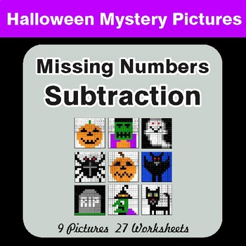 Halloween: Missing Numbers Subtraction - Color-By-Number Math Mystery Pictures