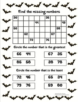 Halloween Missing Numbers/Least and Greatest