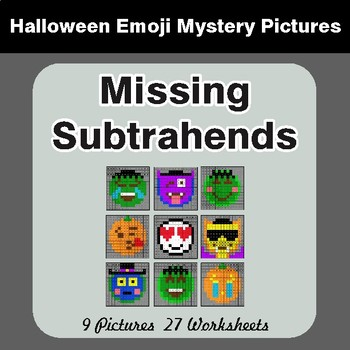 Halloween: Missing Subtrahends - Color-By-Number Math Mystery Pictures