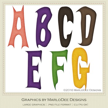 Halloween Mix Colors Letter & Number Graphics