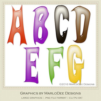 Halloween Mix Colors Plastic Look Letter & Number Graphics