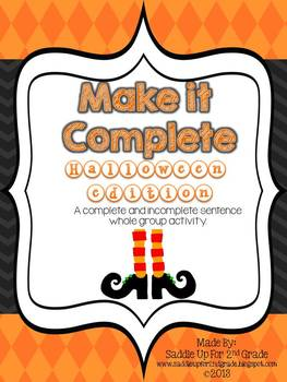 Halloween Mix it Up: A Complete and Incomplete Sentence Game