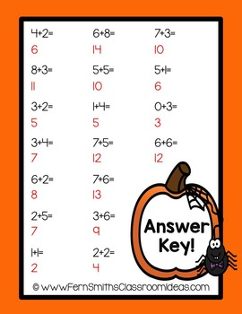 Halloween Quick and Easy to Prep Math Center Game for Mixed Addition Facts