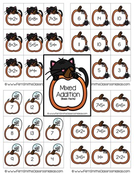 Halloween Quick and Easy to Prep Math Center Game for Addition and Subtraction