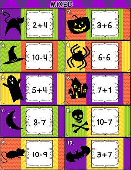 Halloween Mixed (Addition and Subtraction) Card Party and Worksheets