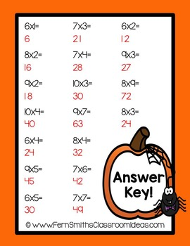 Halloween - Mixed Multiplication 6 to 10 Basic Facts Center Game