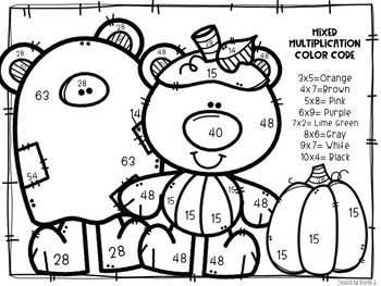 Halloween Mixed Multiplication Color-By-Number