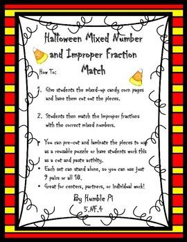 Halloween Mixed Number Improper Fraction Match- 5.NF.4