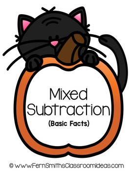 Halloween Quick and Easy to Prep Math Center Game for Mixed Subtraction Facts