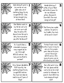 Halloween Money/Decimal Word Problems Using the 4 Operations