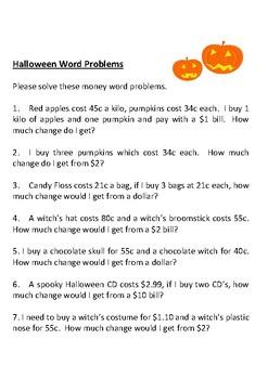 Halloween Money Problems Activity