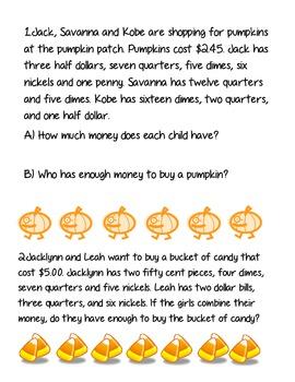 Halloween Money Word Problems