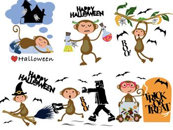 Halloween Monkey Clipart!