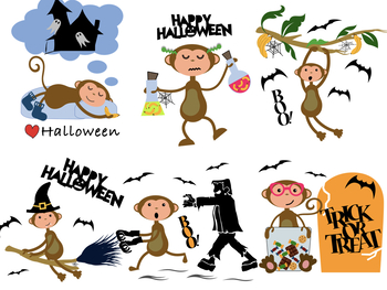 Halloween Monkey Classroom Clipart- Great for Decorations and Halloween Cards!
