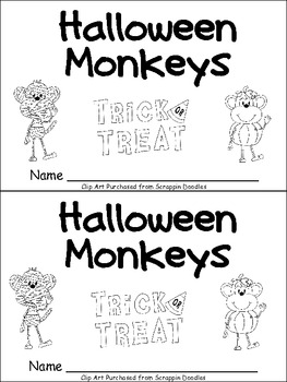 Halloween Monkeys Emergent Reader Kindergarten