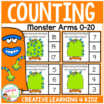 Counting Clip Cards 0-20: Halloween Monster Arms