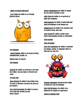Halloween Monster Creation Super Powers