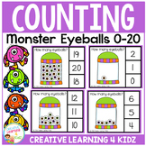 Counting Picture Clip Cards 0-20: Halloween Monster Eyeballs