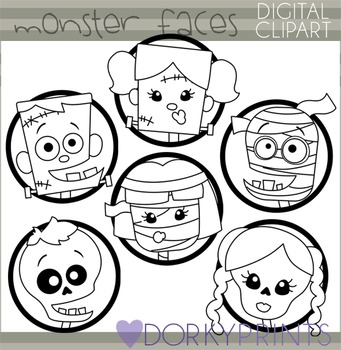 Halloween Monster Faces Blackline Clip Art