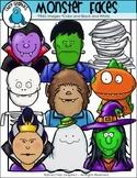 Halloween Monster Faces Clip Art Set - Chirp Graphics
