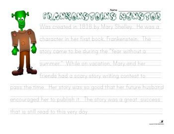 Halloween Handwriting Monster History - Print, Pre-Cursive, Cursive