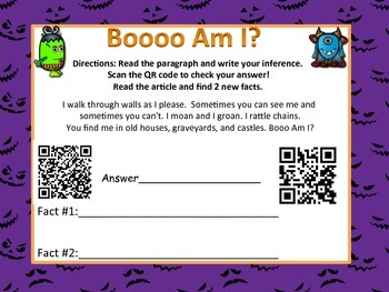 Halloween Monster Inferencing QR code (Common Core aligned)